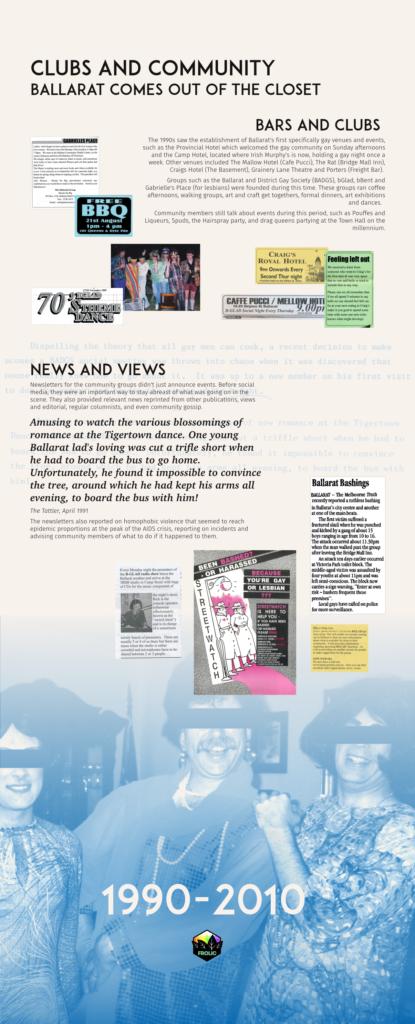 Ballarat Heritage Weekend - Queer History display, panel 5 (1990-2010)
