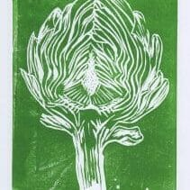 artichoke linocut in green ink on white paper, by alex bayley
