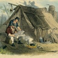 two diggers reading a newspaper. sketch by S. T. Gill.